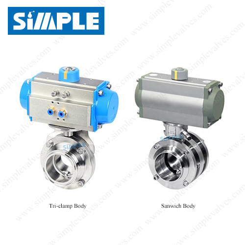 Air Actuated Sanitary Butterfly Valve with Horizontal Actuator