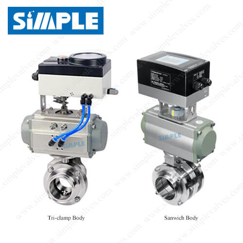 Pneumatic Actuated Sanitary Butterfly Valve with Intelligent IL-TOP Control
